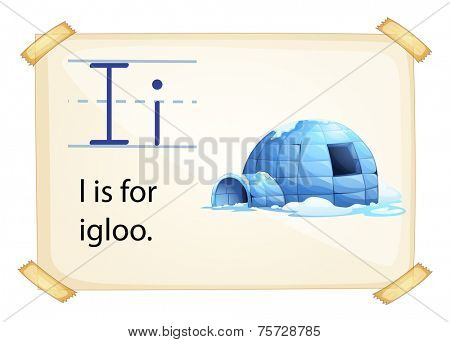A letter I for igloo on a white background