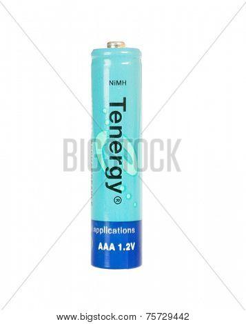 Hayward, CA - October 27, 2014: Tenergy brand AAA nikel-Metal Hydride rechargeable battery