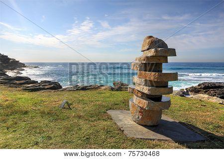 Figure In Landscape Basalt Sculpture