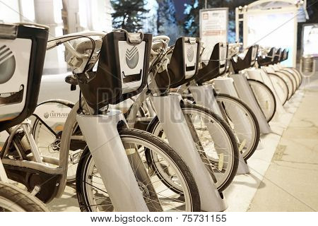 RUSSIA, MOSCOW - November 1, 2014: Rent of bicycles in the center of city at night
