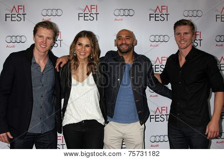 LOS ANGELES - NOV 8:  Trent Luckinbill, Molly Smith, Thad Luckinbill, Yann Demange at the AFI FEST 2014 Photocall at the TCL Chinese 6 Theaters on November 8, 2014 in Los Angeles, CA