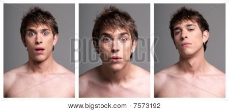 Young Male Expressions From Surprise To Incredulous On Grey Background