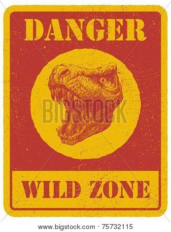 warning sign. danger signal with dinosaur. vector eps 8