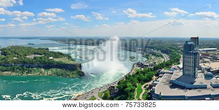 Horseshoe Falls aerial view panorama in the day with mist from Niagara Falls