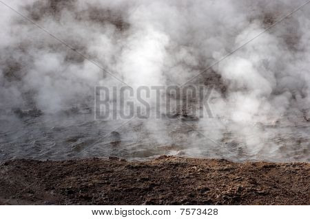 Steam Rising From Hot Spring, Geyser Field, Chile
