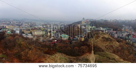 aerial panorama of Kiev Podol from Castle Hill