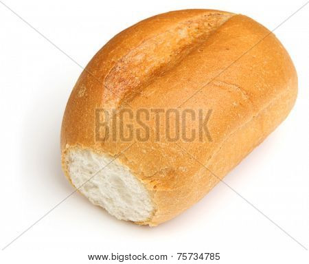 Crusty white bread roll on white background
