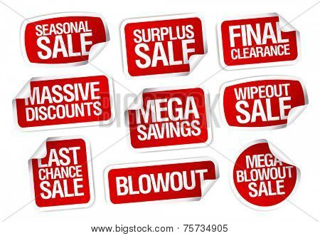Mega savings, sale stickers set.