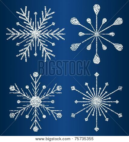 vector textured snowflakes