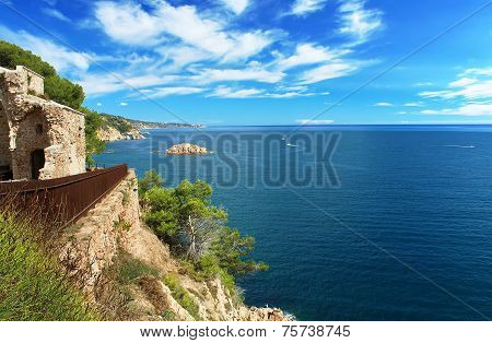 Costa Brava Coast  - View From Tossa De Mar Castle In Tossa De Mar, Spain