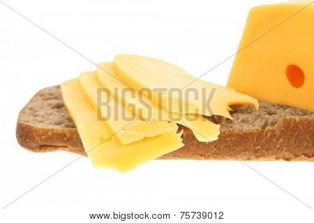 yellow fromage french cheese bar and slice on rye bread isolated over white background high resolution