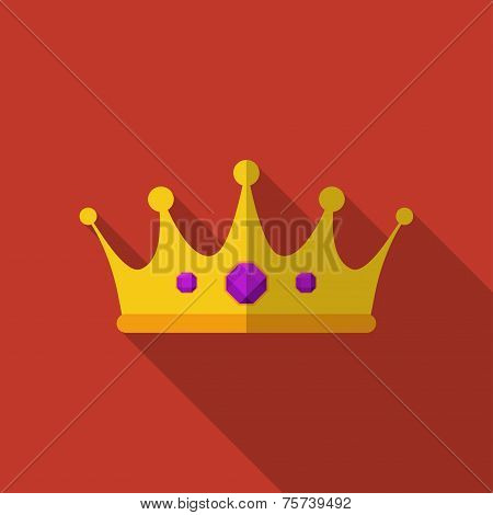 Flat crown with long shadow. Vector icon