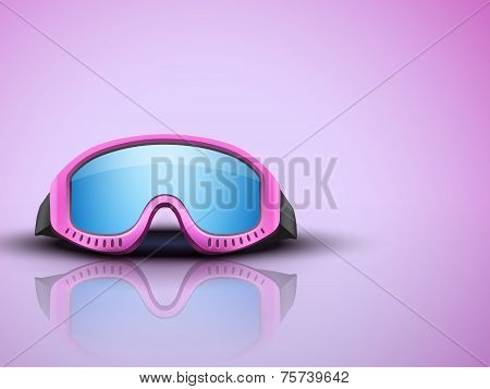 Light Background with pink ski goggles. vector illustration
