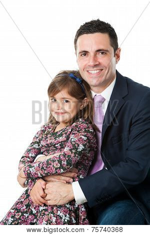 Young Dad With Little Girl On Lap.