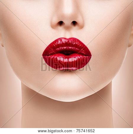 Sexy Lips. Beauty Red Lip Makeup Detail. Beautiful Make-up Closeup. Sensual Open Mouth. lipstick or Lipgloss. Kiss. Beauty Model Woman's Face close-up