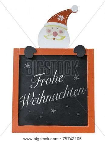 Christmas Blackboard written Merry Christmas (Germany: Frohe Weihnachten)