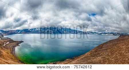 Oskjuvatn lake is the second deepest lake on the Iceland and is located in the caldera of the volcano Askja. HDR panorama