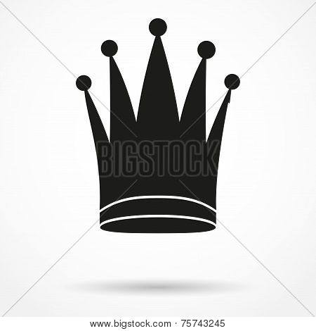 Silhouette simple symbol of classic royal queen Crown. Vector Illustration