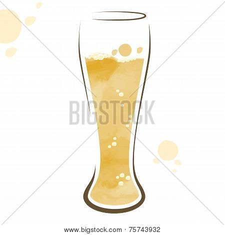 Glass Of Beer Watercolor Drawing