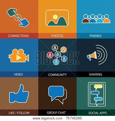 Flat Design Line Icons Of Friends, Social Media, Videos & Photos - Vector