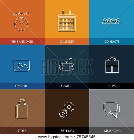 Flat Line Icons For Mobile Or Smartphone - Concept Vector