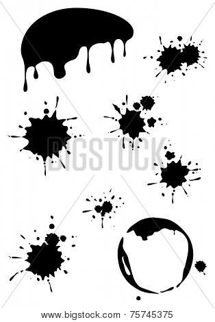 Set of black grunge stains background textures, vector