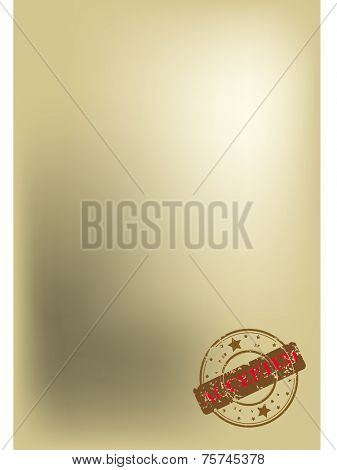 Old, dirty sheet of paper with grunge stamp accepted, vector