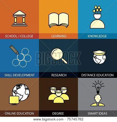 Flat Design Set Of Vector Line Icons Of School & College, University Education