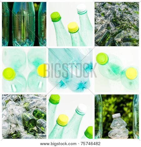 Collage About Recycling Of Glass And Plastic