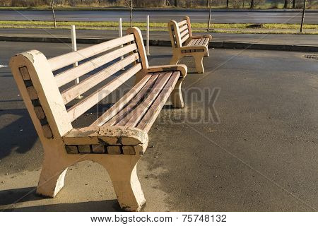 Two wooden benches in the Park