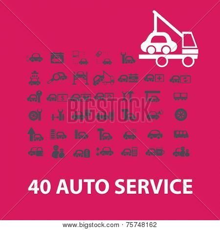 auto service, car repair service icons set