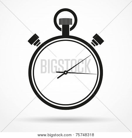 Silhouette simple symbol of stopwatch black icon