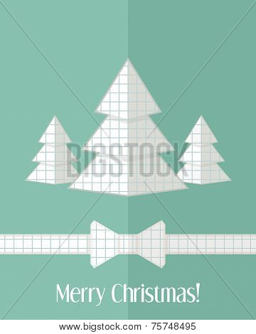 Christmas Card With Three Paper Cut Fir Trees