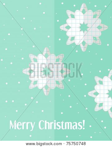 Christmas Card With Paper Cut Snowflakes
