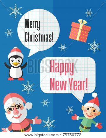 Christmas Card With Santa Claus And Elf And Speech Bubbles