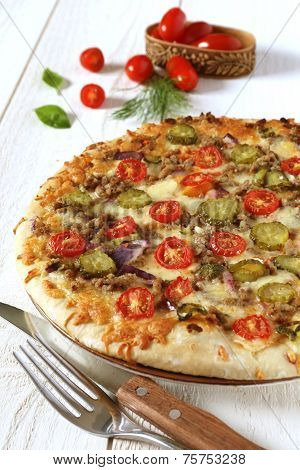 American Pizza With Tomatoes, Pickles And Minced Meat