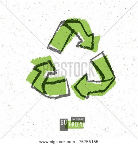 Go Green Concept Poster With Recycled Sign. Vector