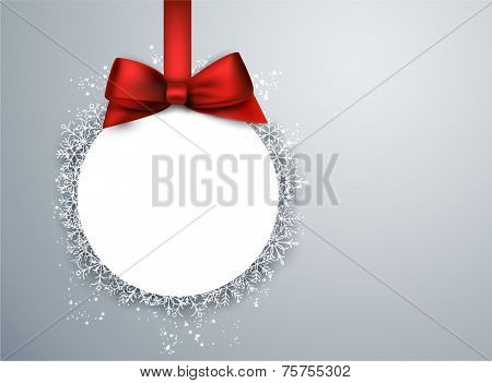 Light winter abstract background. Christmas paper ball background with red bow. Vector.