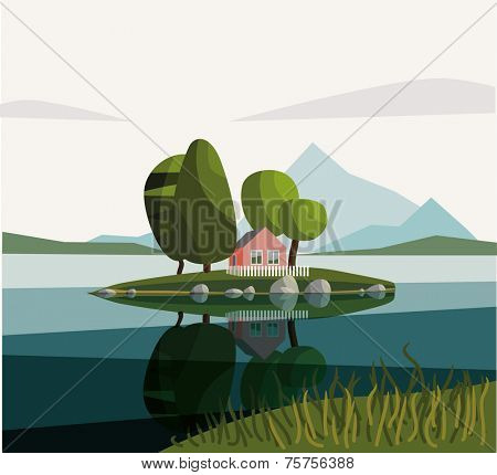 House on the lake. Day. Vector illustration.