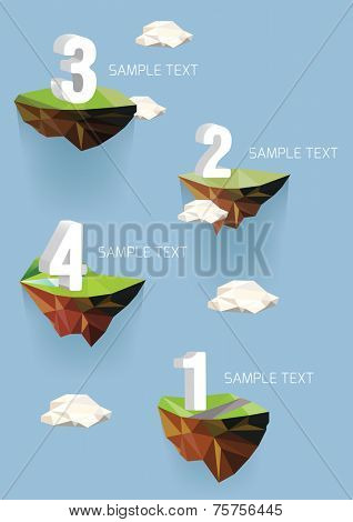 Vector low poly islands with numbers for your design