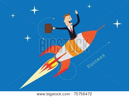 Businessman in the rocket start up , eps10 vector