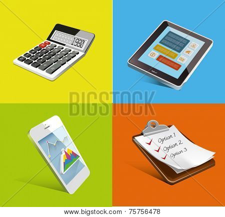 Office set. Realistic vector Icons. Tablet Sellphone, list,