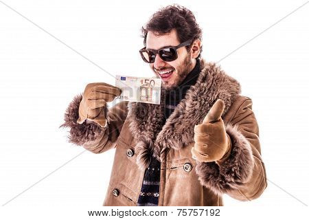 Young Man Holding Euro With Thumb Up
