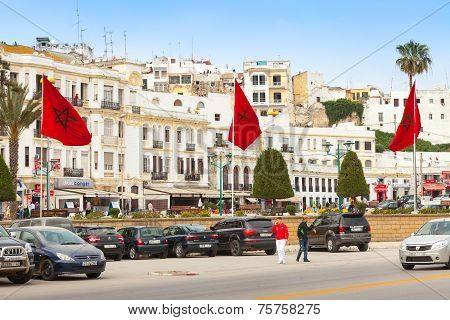 Walking People And Parked Cars In Tangier
