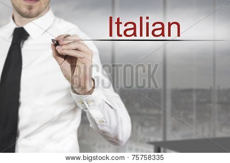 Businessman Writing Italian In The Air Language
