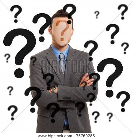 Faceless man having doubts