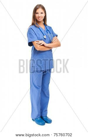 Young nurse full length portrait