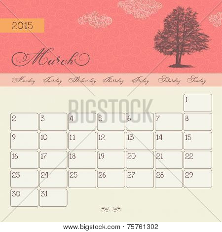 Calendar for March 2015 starting Monday, vector calendar set