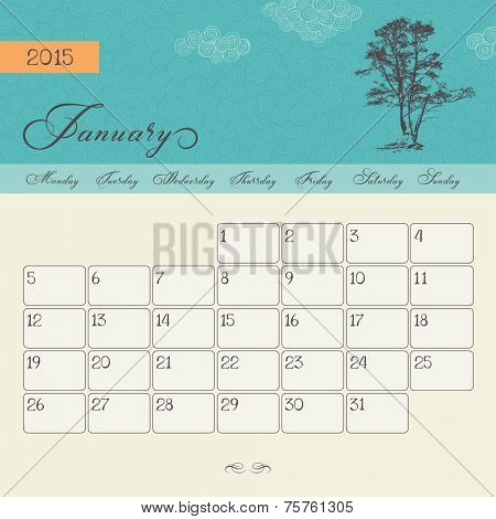 Calendar for January 2015 starting Monday, vector calendar set