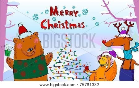 Vector illustration of cute animals playing next ot Christmas tree.